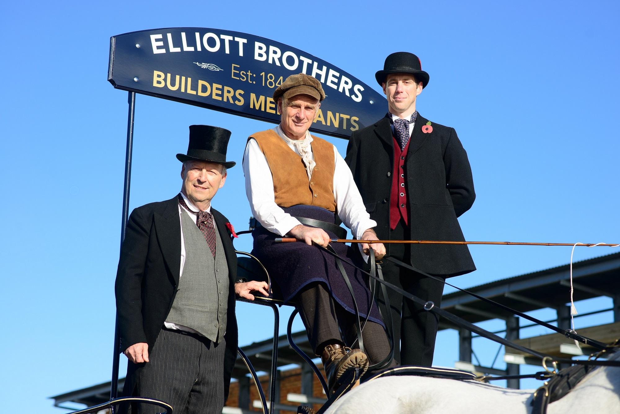 Close up of Stuart Mason-Elliott and Tom Elliott onboard the cart