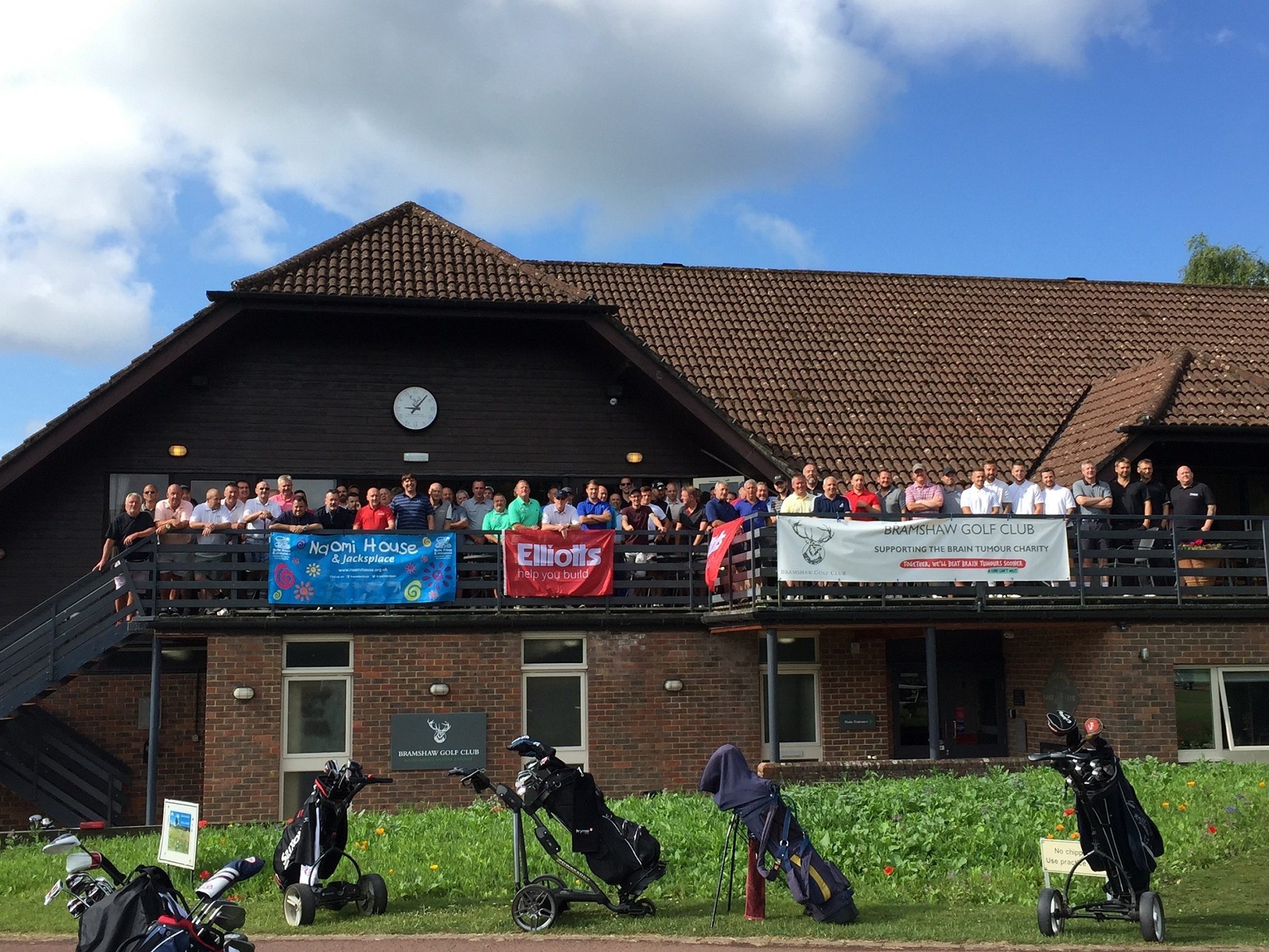 Golfers get ready to tee-off at Bramshaw Golf Club, 2019