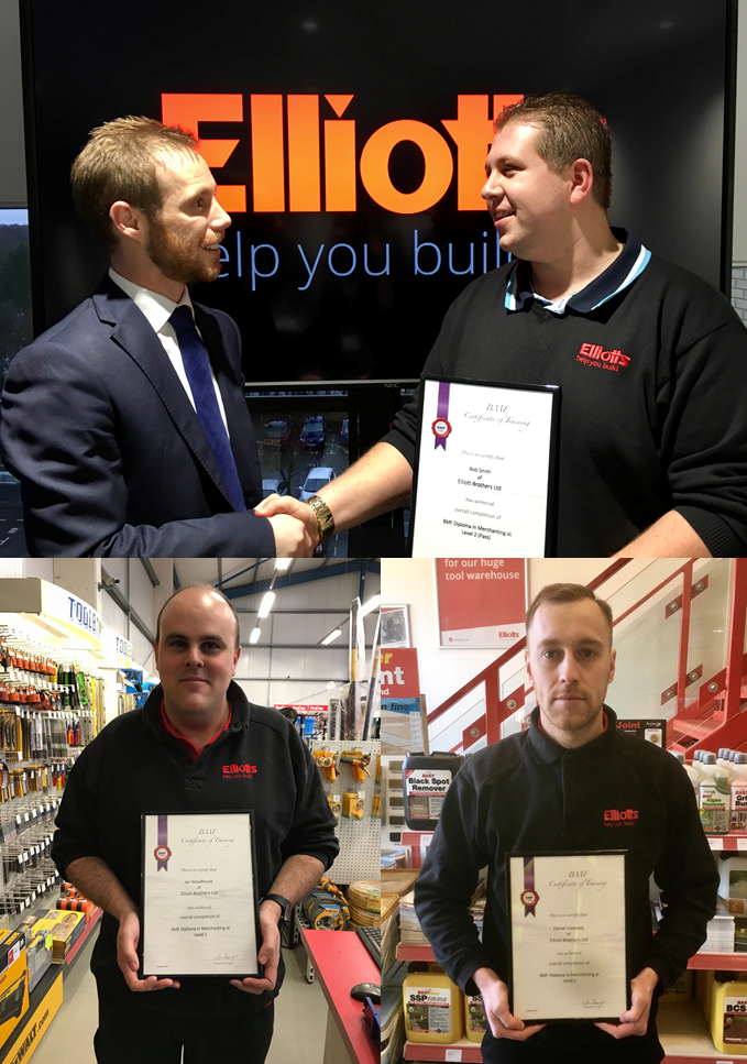 Top - Tom Elliott presenting diploma certificate to Bobby Smith Jnr, bottom left - Ian Woodhouse, bottom right - Dan Coombes