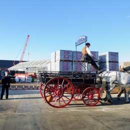 Stuart Mason-Elliott and Tom Elliott wave the horse and cart off